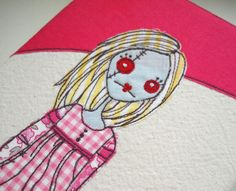 embroidered zombie lady textile art