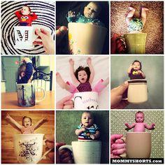 Baby in a mug photo idea.