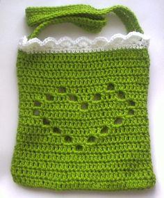 Virkad grön hjärtväska! | Flickr - Photo Sharing!