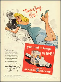 1945 Vintage magazine advertisement for General Electric/GE Mazda lamps