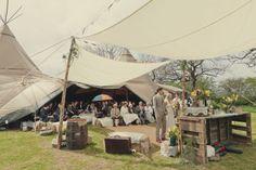 Good idea for rainy plan B: half inside half outside! 16 Yorkshire Woodland Wedding at The Bivouac by Lissa Alexandra