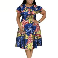 Material: 100% COTTONSeason: SummerStyle: CasualPattern Type: PrintDresses Length: Knee-Length African Dresses Plus Size, Short African Dresses, Latest African Fashion Dresses, African Print Dresses, African Print Fashion, African Fashion Traditional, Dresses For Pregnant Women, Stylish Dresses For Girls, African Attire
