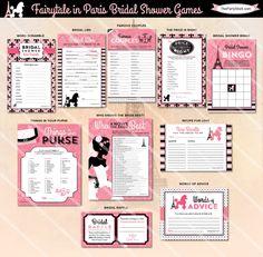 Paris Bridal Shower Games | Printable Wedding Shower Game | Pink Black | ONE GAME You Choose | Paris Invitation & Decorations Available