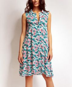 Another great find on #zulily! Blue & Pink Floral Shirt Dress #zulilyfinds