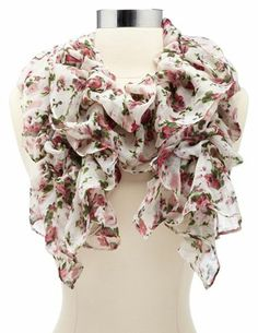 Cinched Floral Printed Ruffle Scarf: Charlotte Russe