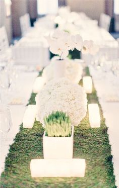moss runner for a modern tablescape by Hatch Studio NYC via Style Me Pretty #wedding