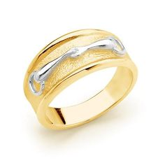 d81f7d522 9ct Yellow Gold Accent on Sterling Silver Snaffle Bit Ring. #equestrian # equine #