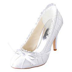 Mujer-Tacón Stiletto-TaconesBoda-Satén / Satén Elástico-Marfil / Blanco