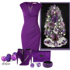 Purple Christmas, created by diane-shelton on Polyvore
