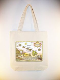 Hawaii Vintage Map Postcard on Canvas Tote by Whimsybags, $12.00