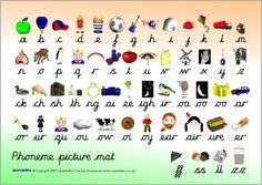 Free printable phoneme picture mats - cursive