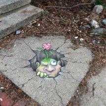 Chalk Art by David Zinn in Michigan, USA Good example of street art. Murals Street Art, 3d Street Art, Street Art Utopia, Amazing Street Art, Street Art Graffiti, Street Artists, Graffiti Artists, Usa Street, David Zinn