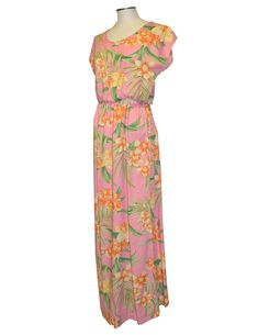 12e89d2b29b Check out the deal on Full Length Rayon Dress Orchids Galore Cap Sleeves at  Shaka Time