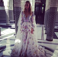 Poppy Delevingne's custom Pucci Wedding dress for her second ceremony in Marrakesh.