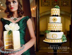 Deco Gold & Green cake | WedLuxe Magazine