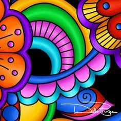 18 Ideas For Art Dibujos Abstractos Arte Pop, Painted Rocks, Hand Painted, Wal Art, Flower Doodles, Doodle Flowers, Art Africain, Colorful Paintings, Zentangle Patterns