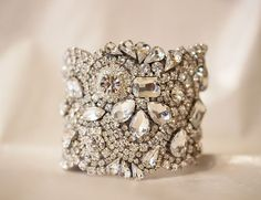 Old Hollywood Swarovski Cuff by Couturelove on Etsy, totally gorgeous!