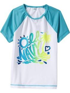 Girls Graphic Rashguard Tops | Old Navy