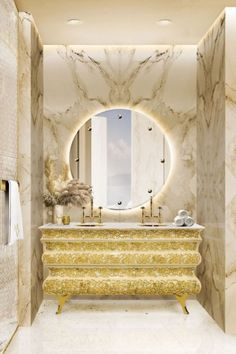 Golden details can create an extraordinary vanity area that becomes a design statement! Get inspired!