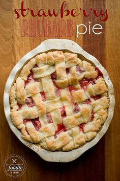 """Original pinner stated: """"There are few pies better than a mouthwatering, sweet yet tart, flaky crusted, warm Strawberry Rhubarb Pie. Oh yeah. Pie Recipes, Baking Recipes, Sweet Recipes, Dessert Recipes, Recipies, Yummy Recipes, Delicious Fruit, Yummy Food, Strawberry Rhubarb Recipes"""