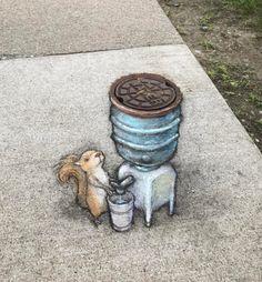 Squirrel at the water cooler. -David Zinn
