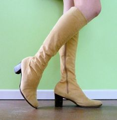 1960s Suede Boots Size 85 Light Camel Tan Low Heel by MetricMod, $69.00
