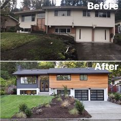 Trendy Split Level Remodel Exterior Before And After Fixer Upper 35 Ideas Home Exterior Makeover, Exterior Remodel, Modern Exterior, Exterior Design, Midcentury Exterior Products, Modern Home Exteriors, Home Styles Exterior, Modern Garage, Traditional Exterior