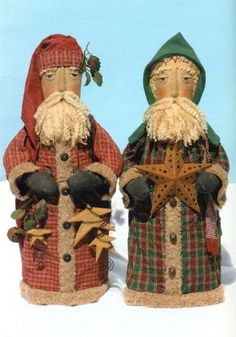 Primitive Pattern Folk Art Santa's Free standing vintage Looking Santa's WOW ! Primitive Country Christmas, Primitive Santa, Primitive Folk Art, Primitive Crafts, Primitive Christmas, Vintage Christmas, Doll Clothes Patterns, Doll Patterns, Heart Patterns