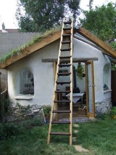 cob house (looks like a garden shed) with a grass roof! love it.