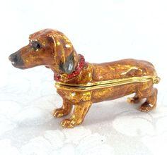 Dachshund Puppy Dog Enamel Trinket Box Red Jewels Collar