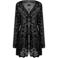 Meaneor Women's Sexy Lace Crochet Sheer Long Sleeve Open Front... ($17) ❤ liked on Polyvore featuring outerwear, coats, open front cardigan, long sleeve coat, lace coat, crochet coat and sheer coat