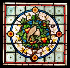 Birds in fruit tree stained glass panel
