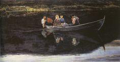 Sankthansaften (Midsummer Eve) 1886 by Christian Skredsvig (+++) Edvard Munch, European Paintings, Old Paintings, Venetian Painters, Francesco Guardi, Midsummer's Eve, Art Nouveau, Canoe Boat, Hieronymus Bosch