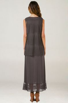 Mria Dress in French Charcoal | Women's Clothes, Casual Dresses, Fashion Earrings & Accessories | Emma Stine Limited