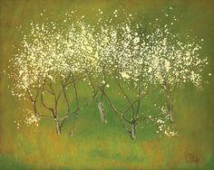 Constantin Piliuță – Primăvara / Constantin Piliuţă - Spring - Romanian painter Pop Art, Art Brut, Post Impressionism, Art Database, Chrysanthemum, Drawing, Portrait, Land Scape, White Flowers
