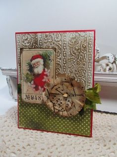 Grungy & Distressed Santa Card...with paper rosette & ribbon...Papercraft Star.
