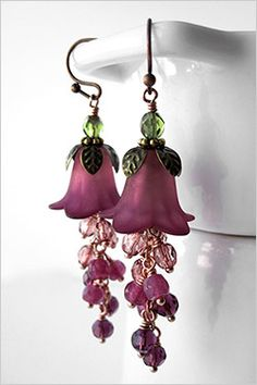 Ombre Raspberry Flower Earrings - Burgundy Red to Dark Pink Flowers, Garden…