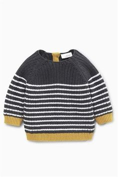 Buy Grey Stripe Jumper from the Next UK online shop Baby Boy Knitting, Knitting For Kids, Baby Knitting Patterns, Knit Baby Sweaters, Boys Sweaters, Big Knit Blanket, Pull Bebe, Big Knits, Baby Boy Outfits