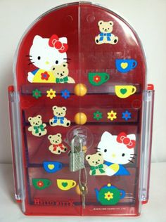 Rare Sanrio Hello Kitty 1995 Jewelry Case Box 3 Drawers, Earring Tray & Lock