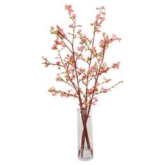 Silk quince arrangement in a mouth-blown glass vase. Hand-assembled in the USA.  Product: Faux floral arrangementConstruc...