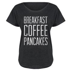 Food Fight Black 'Breakfast Coffee Pancakes' Tri-Blend Dolman Tee (24 AUD) ❤ liked on Polyvore featuring tops, t-shirts, graphic print tees, dolman tops, relaxed fit tops, graphic tees and graphic print t shirts