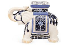 There's an elephant in the room. One Kings Lane - Add Character - Elephant Stool, White/Blue Go Blue, Blue And White, Blue Family Rooms, Chinese Interior, Global Home, Little Elephant, White Elephant, Chinoiserie Chic, Home