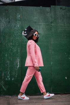 How to style a pink suit - TorontoShay Casual Work Outfit Summer, Work Casual, Casual Outfits, Cute Outfits, Suits And Sneakers, Dress With Sneakers, Black Girl Fashion, Look Fashion, Fashion Outfits
