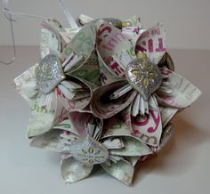 Small Kusudama Flower Ball Ornament One of a Kind  by FoldsOfLove, $20.00