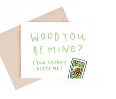 wood you be mine - valentine's day card - settlers of catan - recycled paper