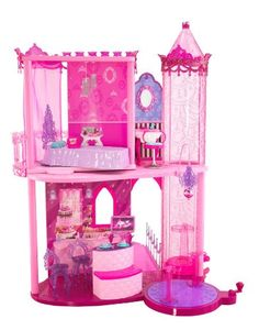 Barbie Fashion Fairytale Palace Specifications    Pink, posh, and fabulous, the Fashion Fairytale Party Palace has all the furnishings and girly details to make Barbie's next bash a success. Invite Barbie's friends to this two-story play set for dancing, dessert, or dress-up. For princesses aged 3 and up, this 20-piece play set combines the whimsy of romantic fairytales with today's glitziest trends.