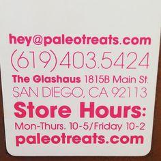 Paleo Treats® office hours.  More info: www.paleotreats.com