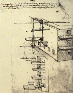 """""""Difese Siege 1"""", inchiostro di Leonardo Da Vinci (1452-1519, Italy)"""