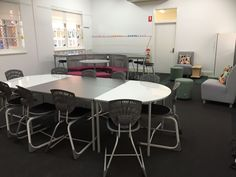 Zones for focussed smaller group work, zones to reconnect and relax and zones to present. We love this flexible breakout space. The Whiteboard D Tables allow for the learning to be visible. #flexibleseating #Bodyfurn #Furnware #classroomdecor #classroomdesign #classroomfurniture #schoolfurniture #classroomideas #education #flexibleclassroom #schooldesign Classroom Furniture, School Furniture, Learning Spaces, Learning Environments, Classroom Design, Classroom Decor, Staff Room, Soft Seating