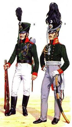 Russian light infantry: Jaeger Battalion soldier and an officer of the Guards Jaeger Battalion